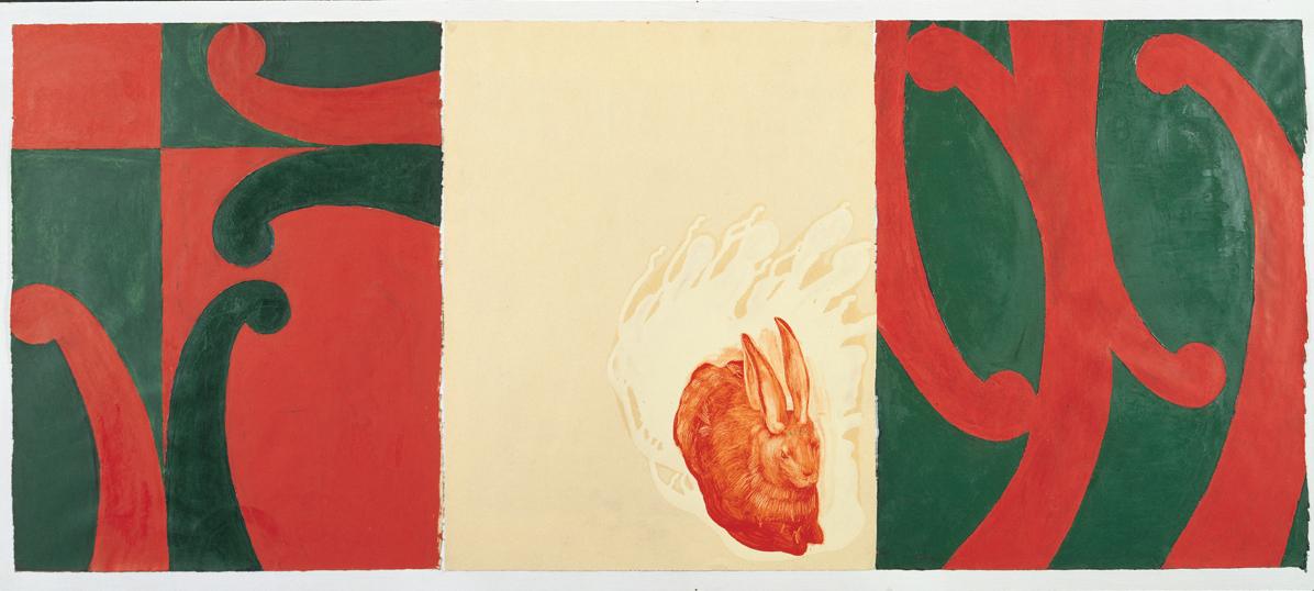 <i>A.D. e J.B.</i>, 1990. Olio e cementite su carta, 47 x 111 cm