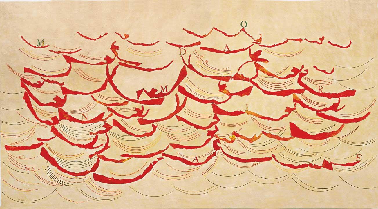 Dipende, 2005. Olio, tecnica mista ed encausto su tavola, 116 x 214 cm.