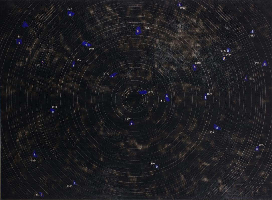 <i>Cosmologia musicale I</i>, 2008. Encausto e tecnica mista su tavola, 187 x 252 cm
