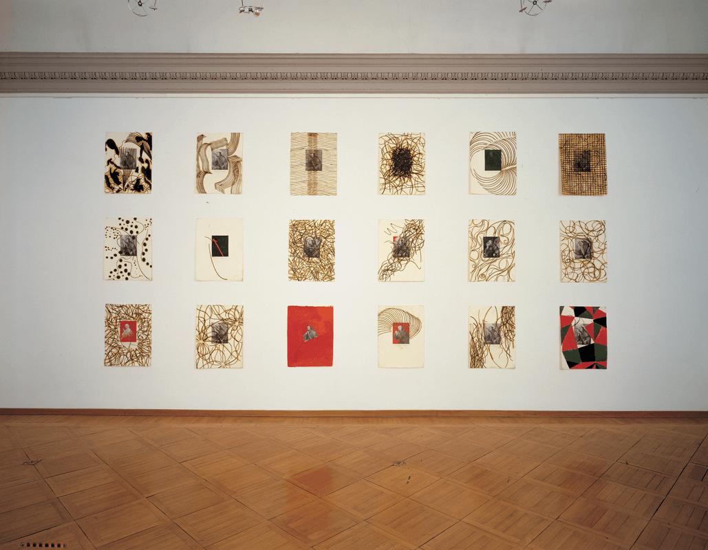 San Nicola da Tolentino, 1996, tecnica mista e olio su carta (acquaforte), 48 X 63 cm (18 elementi), Collezione permanente Museum Moderner Kunst Stiftung Ludwig Wien, Vienna.