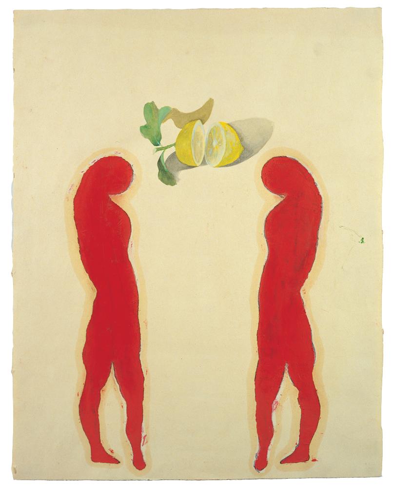 <i>L'amore è un limone</i>, 1990. Acquarello e carboncino su carta intelata, 50 x 123 cm