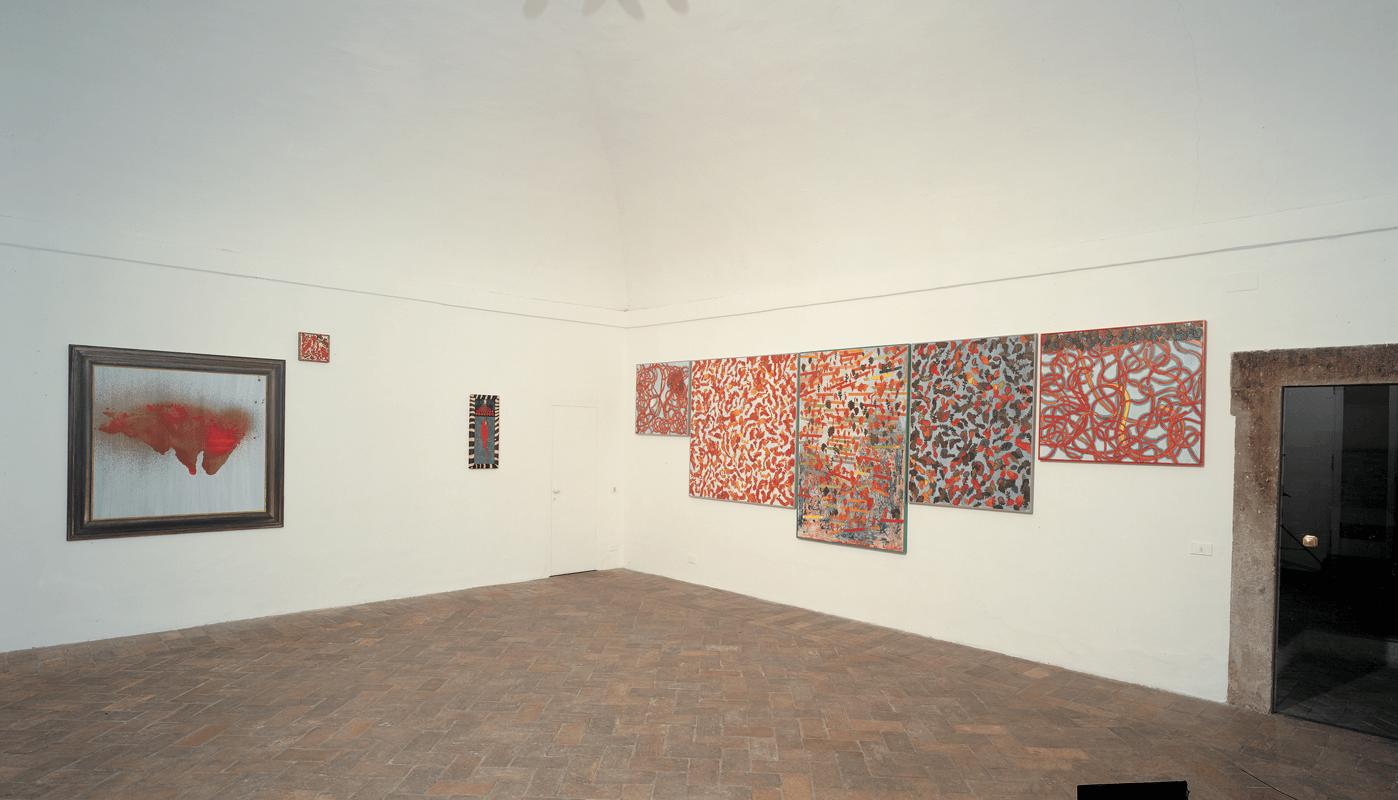 Veduta della mostra Giuseppe Gallo. Il dubbio dai sette bicipiti. Gian Enzo Sperone, Roma, 1996. Foto di Giuseppe Schiavinotto.