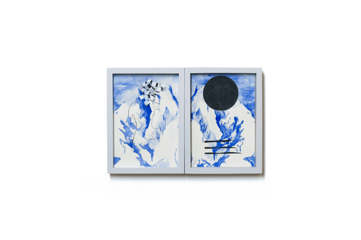 <i>Dialogo tra due gemelli VI</i>, 2015. Mixed media on paper, 24 x 16,5 cm. Ph. Ottavio Celestino
