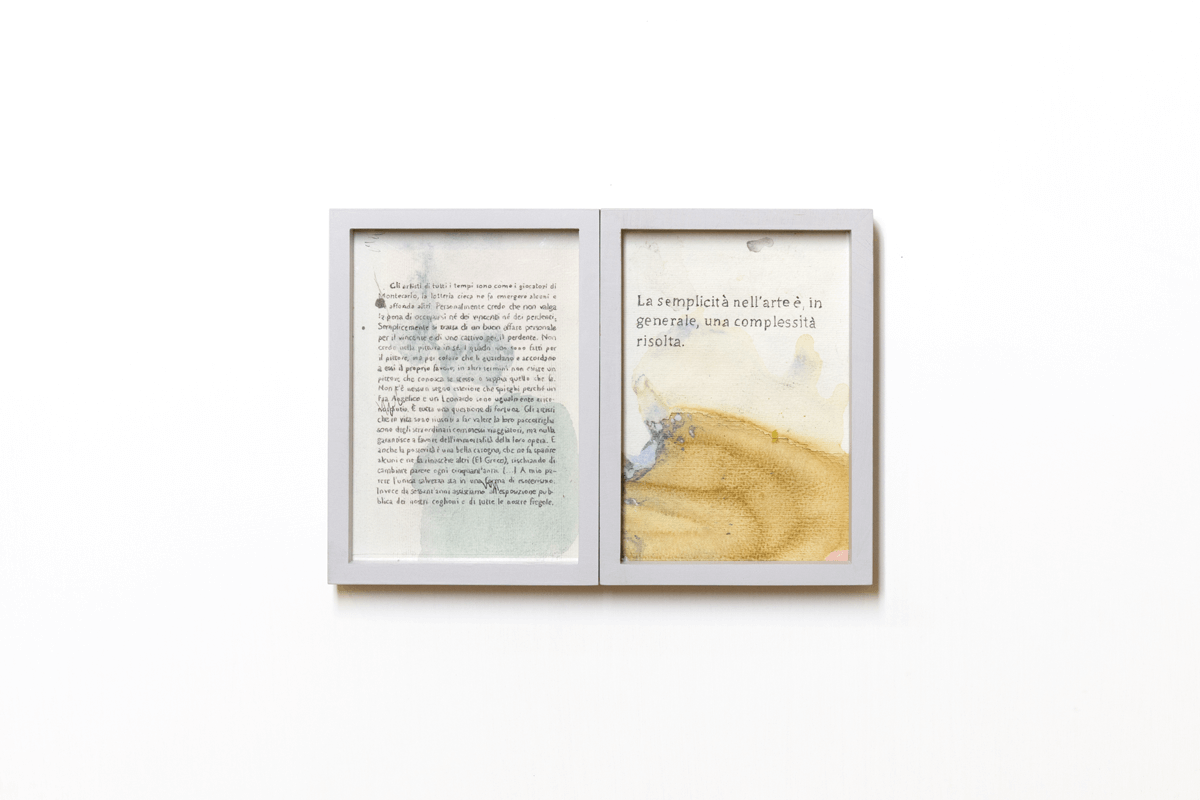 <i>Dialogo tra due gemelli VII</i>, 2015. Mixed media on paper, 24 x 16,5 cm. Ph. Ottavio Celestino
